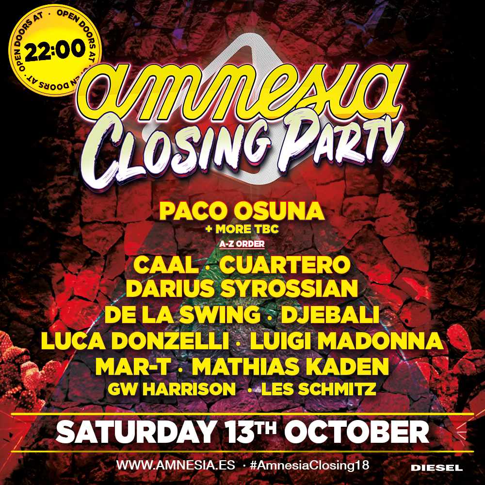 Closing party Amnesia 2018
