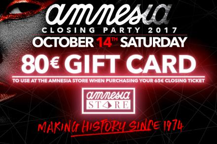 We're giving you 80€ to spend at Amnesia store!
